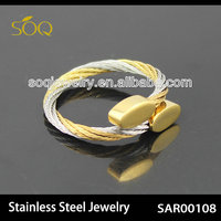 ASR00108 New Arrival Two Tone Stainless Steel Wire Chain Adjustable Women Wholesale Ring