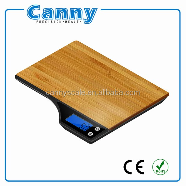 Wooden Bamboo Kitchen Household Food Cooking Weighing Scale 5kg capacity 5000g/1g Batteries Included Flat Slim Design Premie