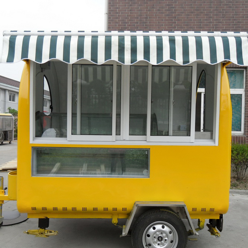 factory supply stainless steel mall food kiosk design / food van for mobile food truck with working benches