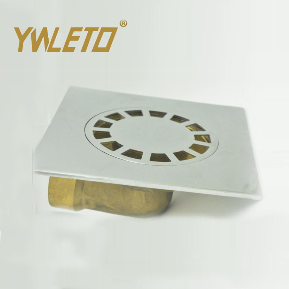 Factory price brass Zinc alloy floor drains square toilet and kitchen drainer