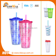 Professional Double wall Plastic Advertising Mugs with straw Cheap mug Wholesale travel mug print logo with Tumbler