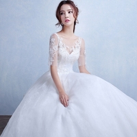 MS60002L V neck half sleeve fashion women lace wedding dress patterns