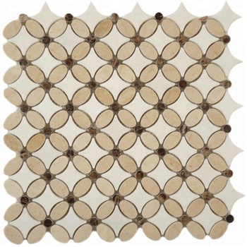 Decorstone24 Crema Marfil Thassos White Marble Polished Water Jet Cut Mosaic Flower Patterns Backsplash & Floor Tiles
