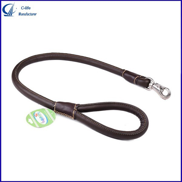 Pets Dog PU Leather Chain Training Leash Lead Strap Rope Collars