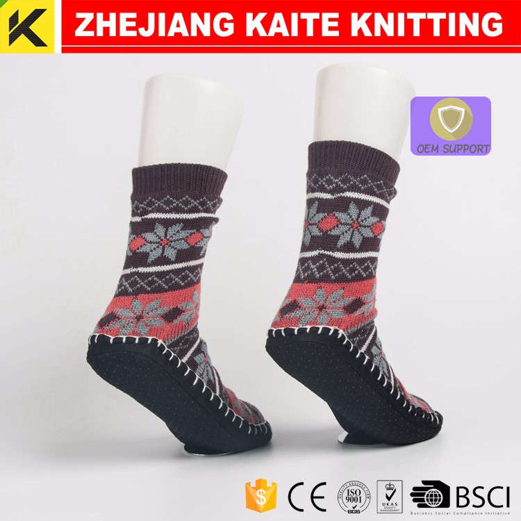 KT-8012 slipper socks with leather sole