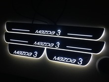 Car LED Welcome pedal Logo Flash led moving door scuff sill plate for Mazda3