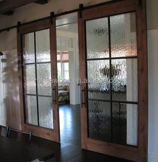 Bi-pariting Ice Glass Sliding Wood Barn Door with Hardware