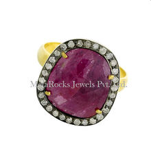 Vintage Diamond Pave Ruby Gemstone 925 Sterling Silver Ring 18k Yellow Gold Jewelry Gift