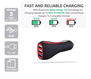 2017 new item 30W CE rohs fcc 3 port qualcomm quick charge 3.0 car charger