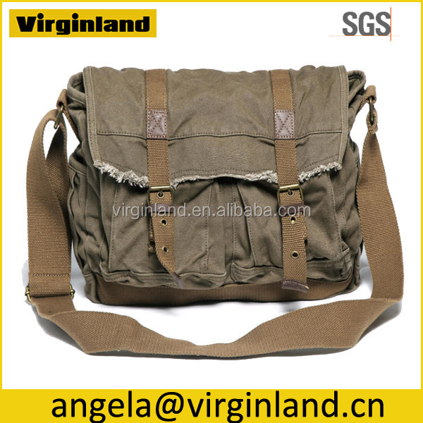 0118 European Style Vintage Funky Army Green Washed Cotton Canvas Fabric Shoulder Bag For Men Gender