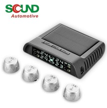 Tire pressure and temperature alarm system with LCD monitoring and solar energy charing and external sensor