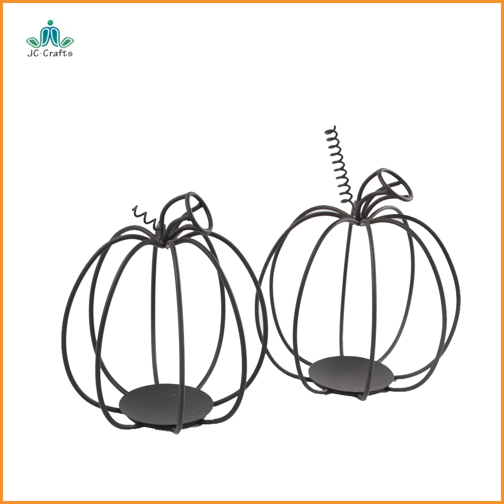 festival decoration black wrought iron metal pumpkin centerpiece wire candles holders
