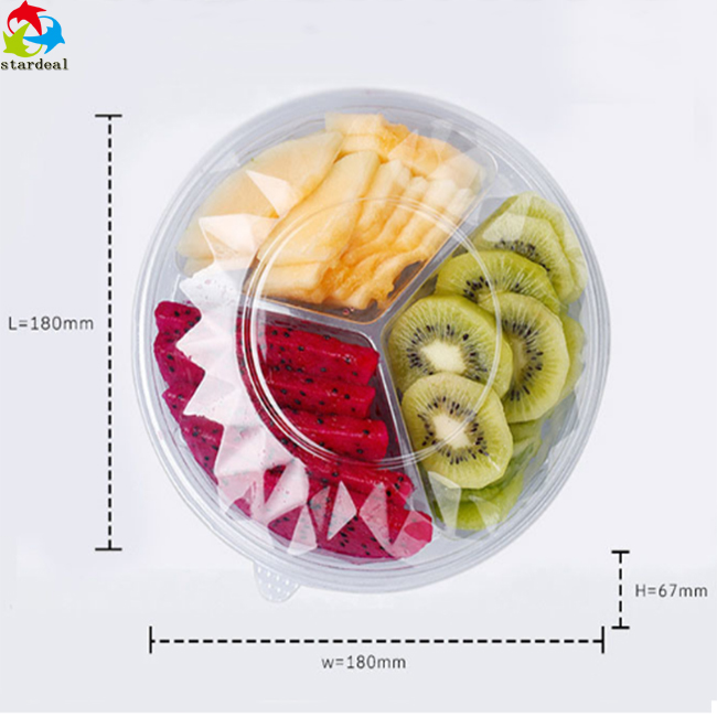 Transparent 3 Cavity Fruit Packaging Clamshell Plastic Food Box