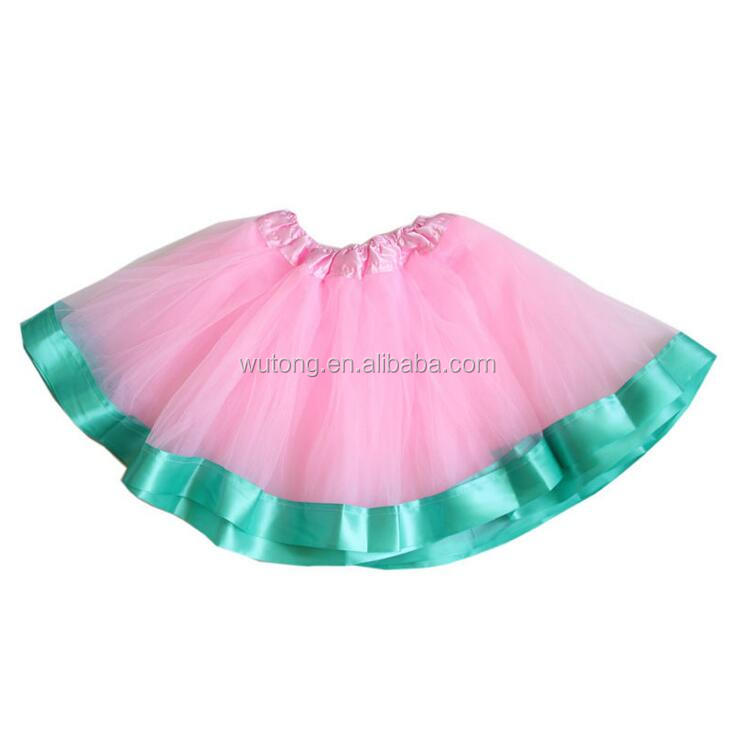 Girls Cake Skirts Flower Tutus Fashion Kids Pink Tulle Tutu Ballet Girls Aqua Ribbon Skirts