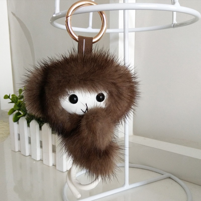 School bag accessories healthy mink fur shopping keyring