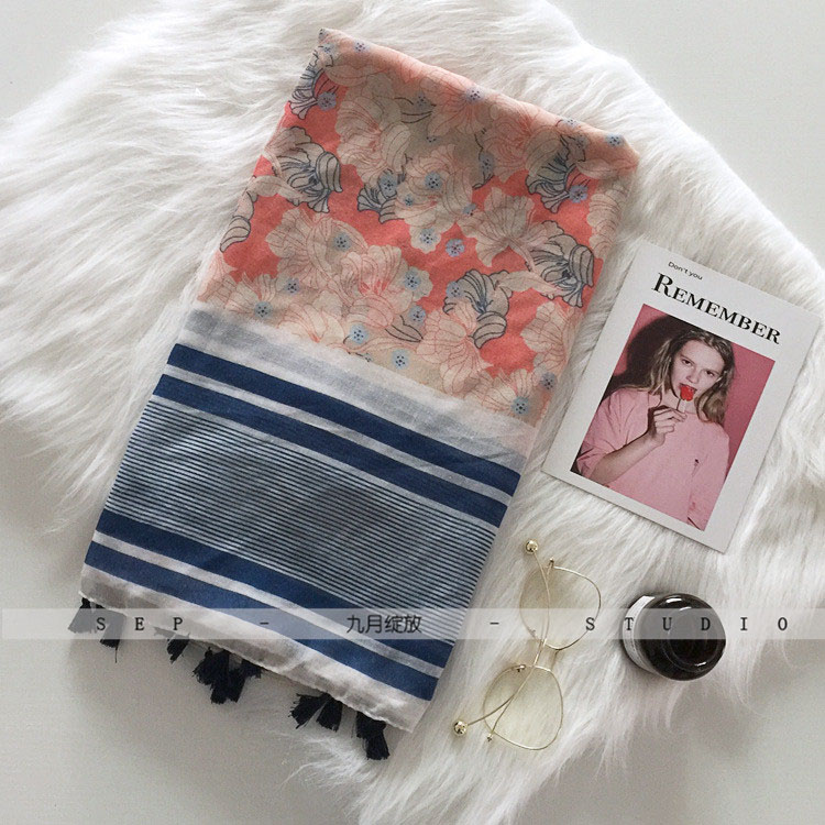 Thin fashion new flower lady spring and summer scarf 2017