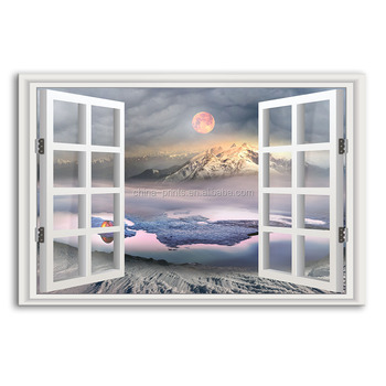 3D Window Landscape Canvas Art Red Sun Scenery Canvas Painting Home Wall Decor Art One Panel Framed Canvas Print