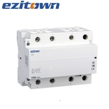 EZITOWN 100A Household Magnetic Electric Modular DIN Rail Mounting Contactor 2P 3P 4P 220v dc 24v ac contactorcontactor