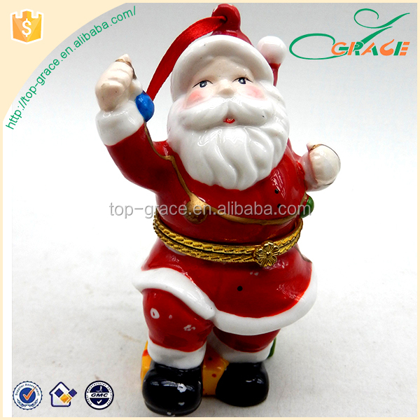 White Porcelain Christmas Ornament Santa Claus