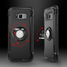 Custom Carbon Fiber Pattern Frame Finger Ring Holder TPU Phone Case For Samsung Galaxy S8 Plus