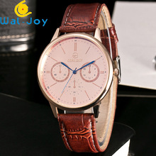 WJ-7203 Korean Edition Fashion Belt Student Watch Male Foreign Trade Hot Style Simple Double Eye Blue Needle Quartz Watch