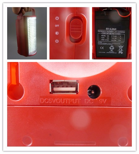 New fashion outdoor use solar led rechargeable emergency light with handle