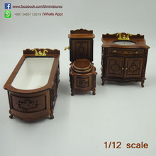 1:12 Scale Miniature Wooden Bath Set/3 Dollhouse Bathroom Furniture