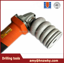 Stone vacuum brazed diamond grinding wheel/ slotted wheel use for ceramic tile grinding side/ installation on Angle grinder