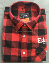 Cheap wholesale no brand mens custom flannel shirt with big red plaid