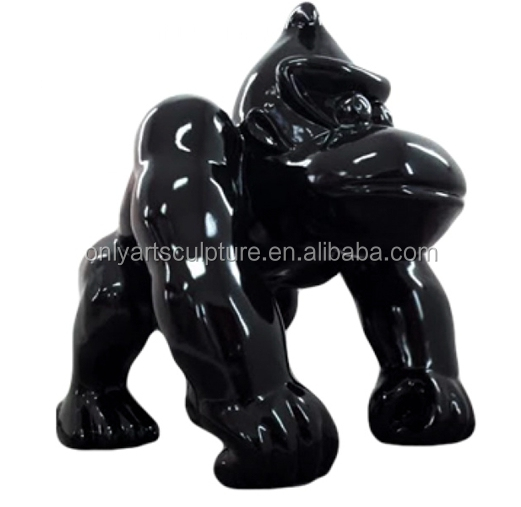 Glossy shiny color fiberglass abstract art gorilla statue for office home decoration