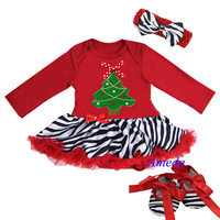 Baby Red Zebra Xmas Tree Bow Long Sleeves Jumpsuit Bodysuit Pettiskirt Jumpsuit Headband Crib Shoes 3pcs NB-18M
