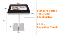 waterproof touch screen smart table, square table 60*60