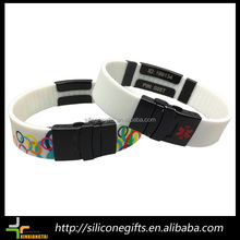 full color printing man's silicone material id bracelet with qr code