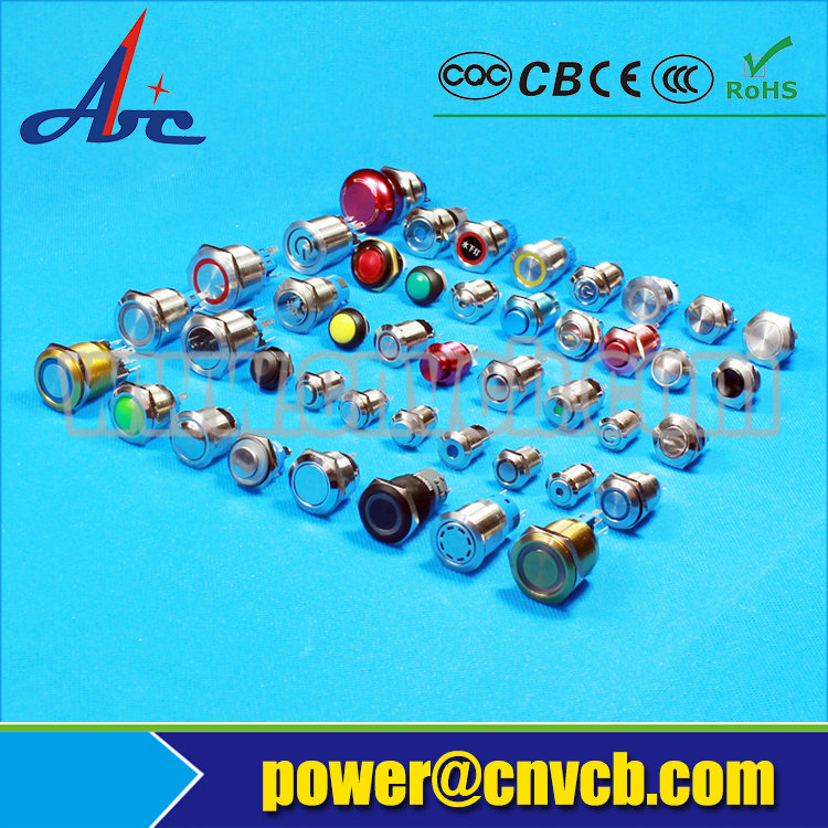 1272 12mm high round latching function 12V Blue/yellow/orange/green/white led ring illuminated waterproof switch