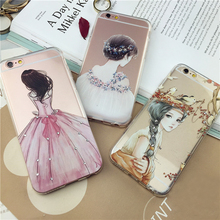 Phone accessories mobile case girl tpu cellphone cover for iPhone X 8 Plus 6 7