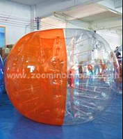 Half orange half transparent inflatable ball knocker ball for team game BB91-P