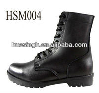 Slip And Water Resistant Military Genuine Leather Combat Boots In UK Style