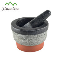100% natural granite marble mortar and pestle for herb and spice