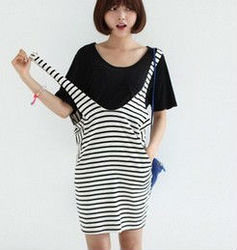 FASHION STRIPE T-SHIRT DRESS SET FOR WOMAN