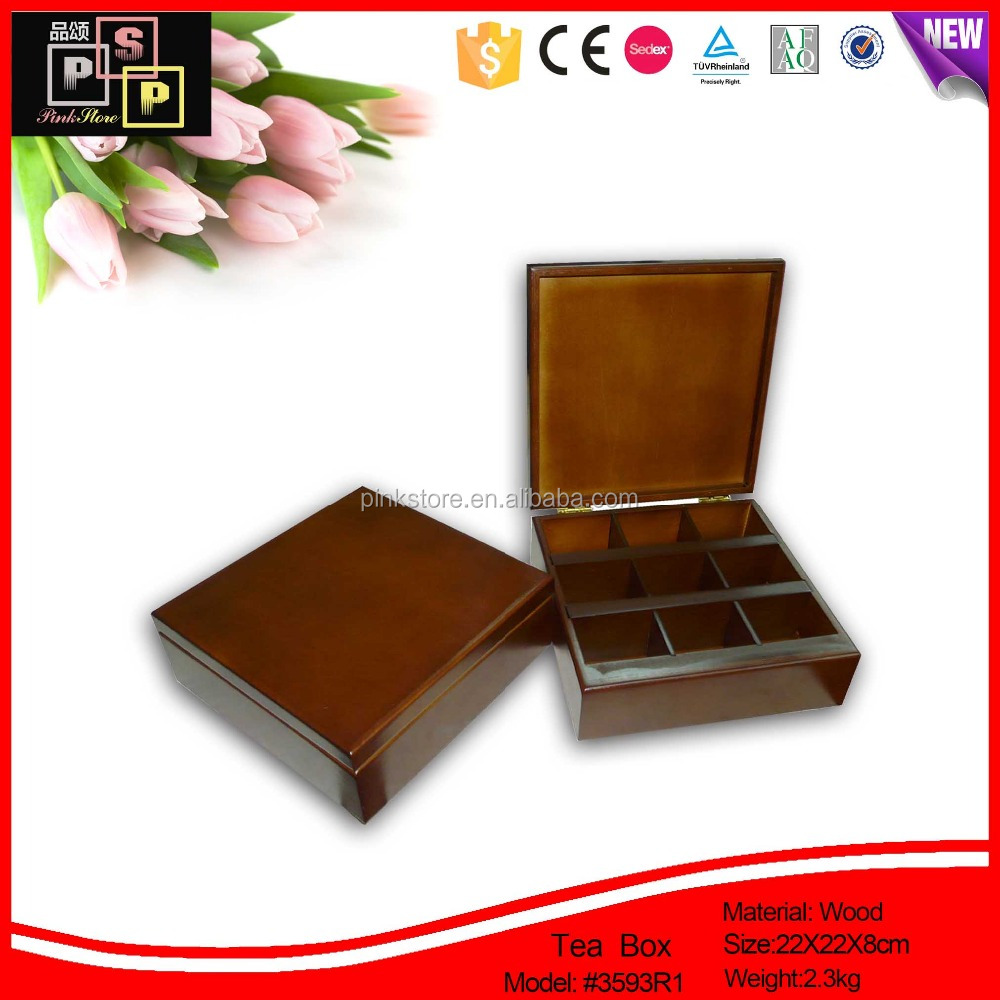 2016 Christmas best gift deluxe lacquered glossy wood squre tea box