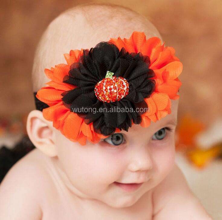 Baby Halloween Rhinestone Pumpkin Floral Hairbands Chiffon Flower Headband Kid New Fashion Elastic Hairbands Accessories