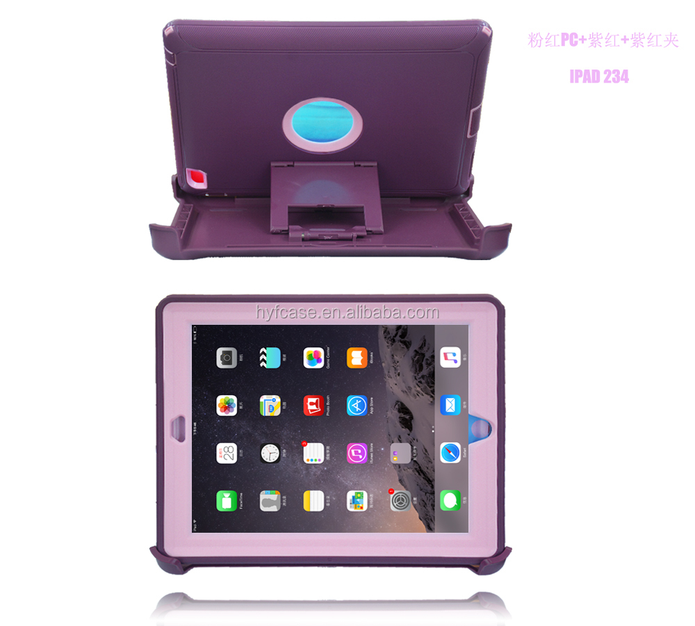colorful hybrid rugged cover for ipad case, for ipad 2 3 4 case stand tpu+pc