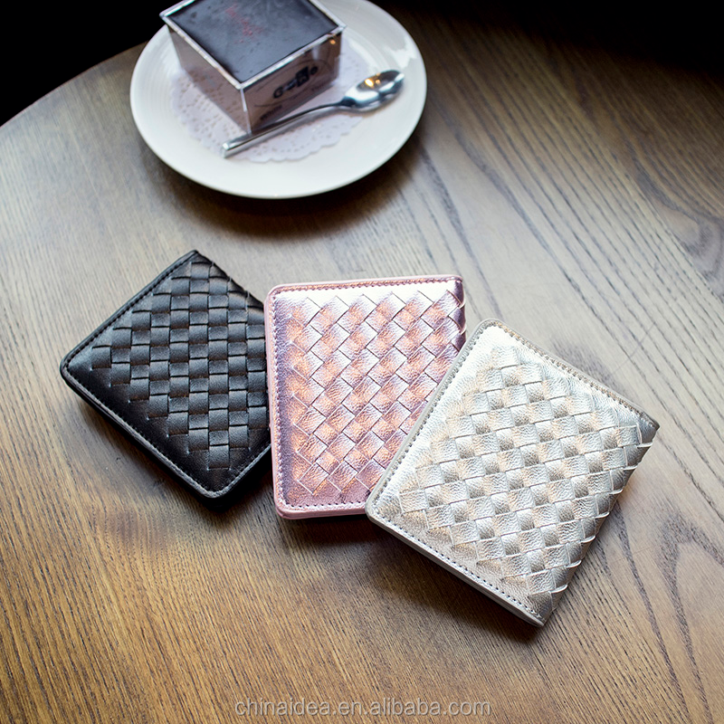 Korean colorful weave leather lovely purse women wallet