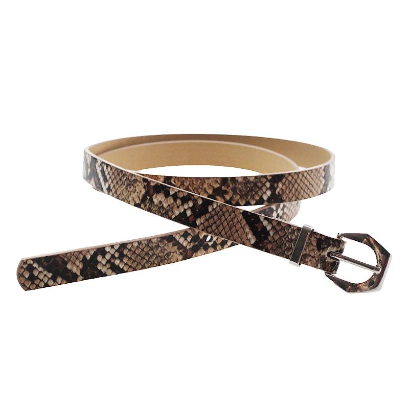2019 hot selling New fashion style custom women snake stripe pu leather belt