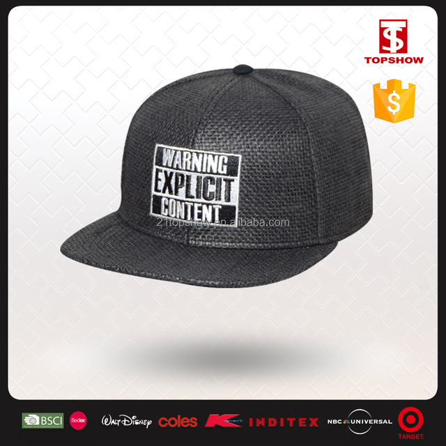 6 panel simple embroidery blank snapback wholesale straw cowboy hats