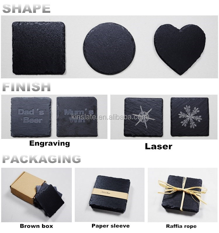 factory direct Rectangle Shape Black Slate Coaster Cup Mat