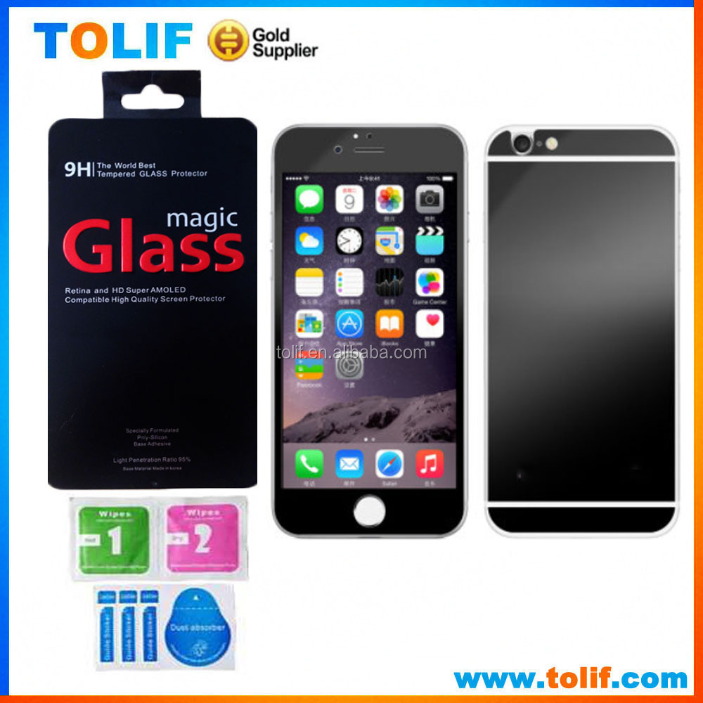 Mobile phone mirror tempered glass screen protectors for iphone 6/6s