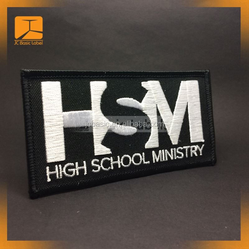 wholesale custom private woven embroidery school uniform logo name badge