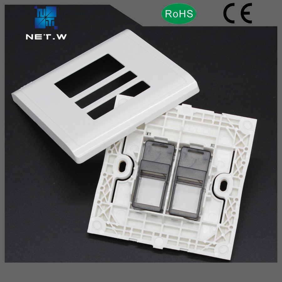 White Color 86 X 86mm hot sell network ethernet rj45 faceplate
