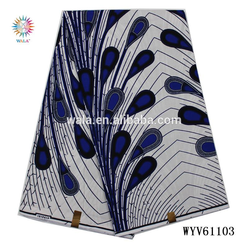 WYV61103 (20) Indian guaranteed real dutch wax print fabric with peacock tail pattern